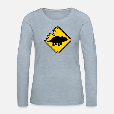Horns Triceratops danger caution danger warning note cau - Women's Premium Longsleeve Shirt