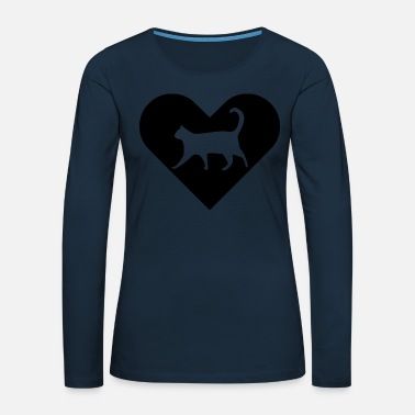 Heart-Cat (black) - Women's Premium Longsleeve Shirt