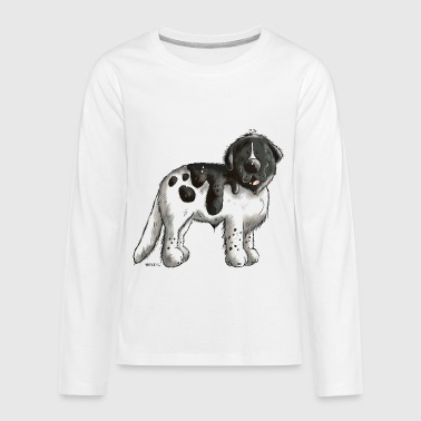 Happy Newfoundland Dog - Dogs - Cartoon - Gift - Kids' Premium Long Sleeve T-Shirt
