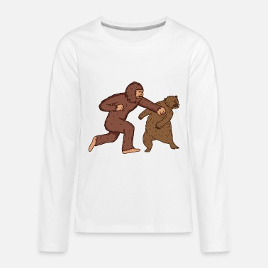 Sasquatch Fighting Bear Funny Bigfoot - Kids' Premium Long Sleeve T-Shirt