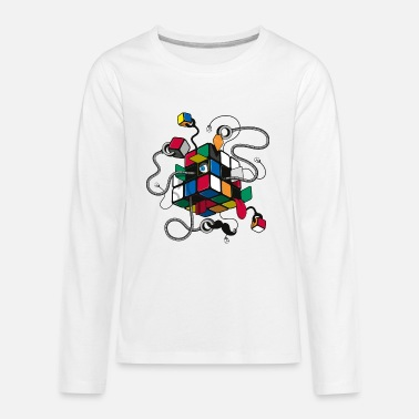 Cube Rubik's Cube Illustrated - Kids' Premium Long Sleeve T-Shirt