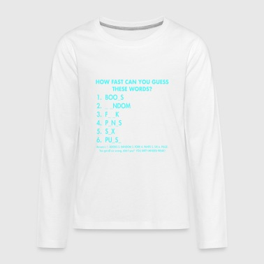 Word Art How Fast Can You Guess These Words - Kids' Premium Long Sleeve T-Shirt