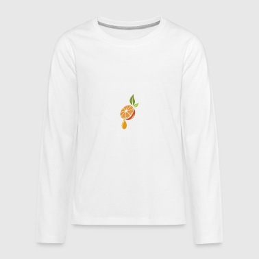 orange, juicy orange, orange leave, orange - Kids' Premium Long Sleeve T-Shirt