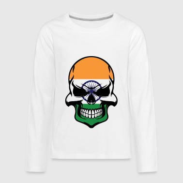Indian Flag Skull Cool India Skull - Kids' Premium Long Sleeve T-Shirt