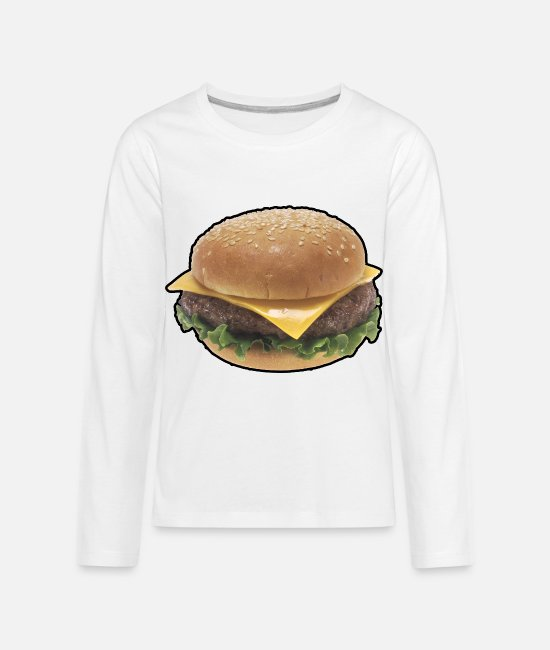 Office Long-Sleeved Shirts - Burger - Cheeseburger - Food - Fast Food - Kids' Premium Longsleeve Shirt white