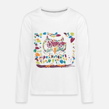 Abstract Colorful Owl wise n happy - Kids' Premium Longsleeve Shirt