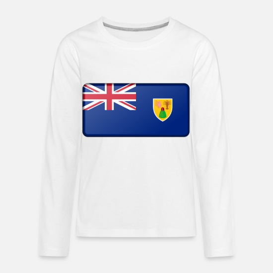 Grand Long-Sleeve Shirts - Flag of the Turks and Caicos Islands (bevelled) - Kids' Premium Longsleeve Shirt white
