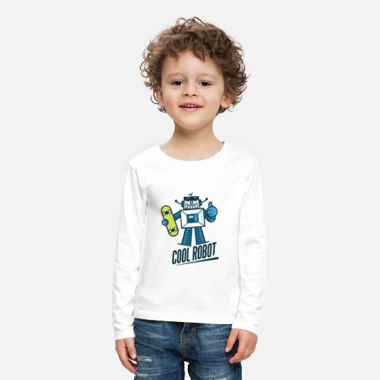 Animal T-Shirts - Cute robot - Kids' Premium Longsleeve Shirt white