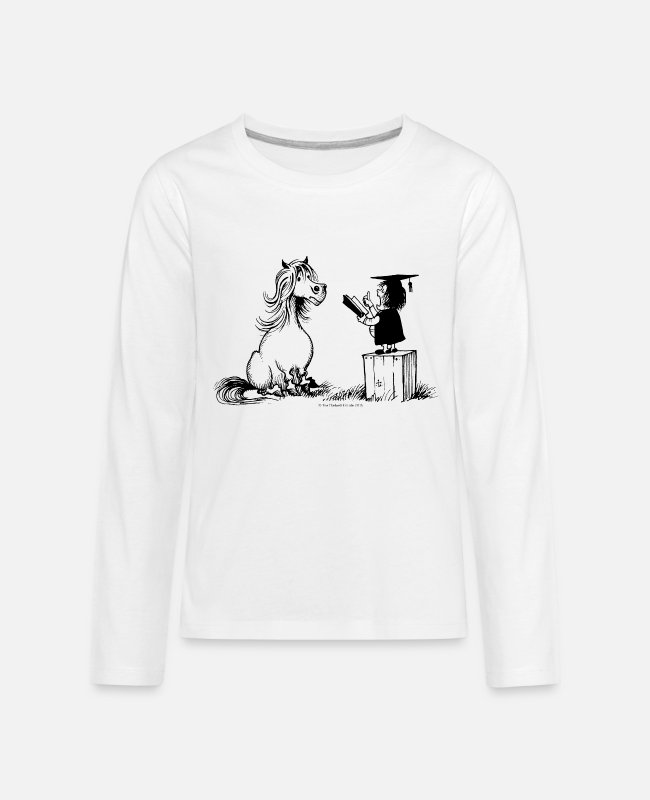Riding Academy Long-Sleeved Shirts - Thelwell Pony Learning At School Teacher - Kids' Premium Longsleeve Shirt white