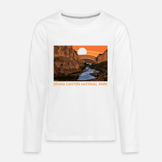 Railway T-Shirts - Grand Canyon National Park Retro Colorado River 80 - Kids' Premium Longsleeve Shirt white