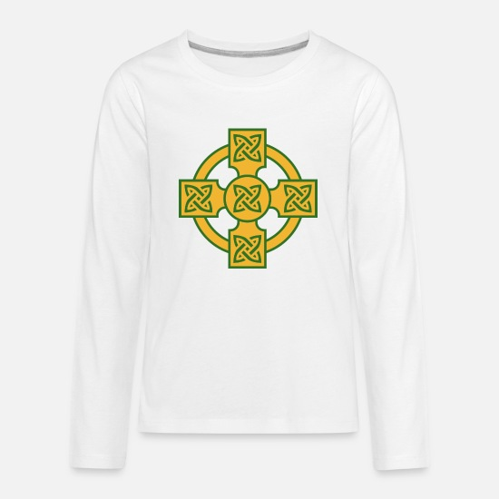 Celtic Knot T-Shirts - Celtic Cross - Kids' Premium Longsleeve Shirt white