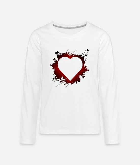 Heart Long-Sleeved Shirts - Heart - Grunge - Love - Romance - Valentines - Kids' Premium Longsleeve Shirt white