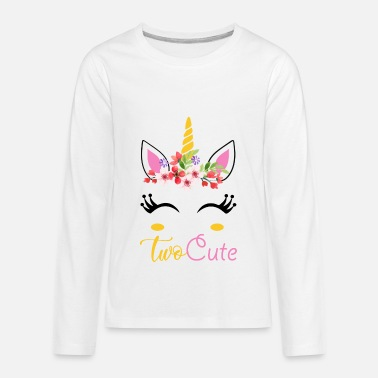 Cute 2nd Birthday Two Cute/Unicorn 2nd Birthday shirt - Kids' Premium Long Sleeve T-Shirt