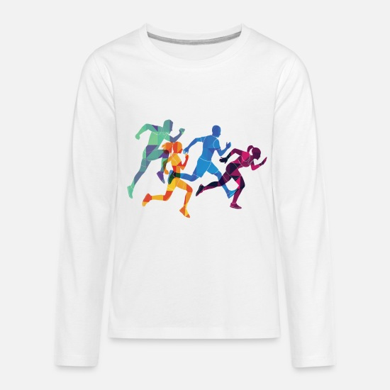 Usa T-Shirts - marathon usa sports - Kids' Premium Longsleeve Shirt white