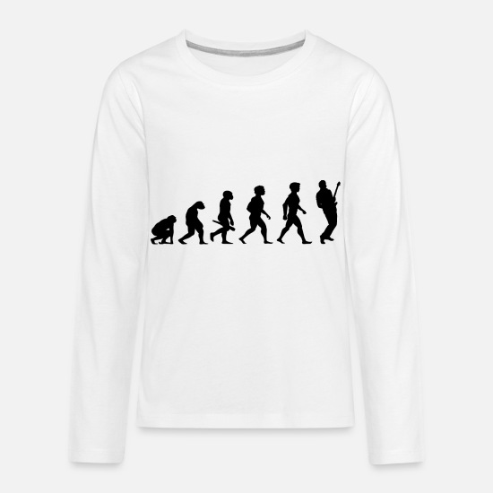 Guitar Long-Sleeve Shirts - Evolution Electric Guitar Player Accoustic Bass - Kids' Premium Longsleeve Shirt white