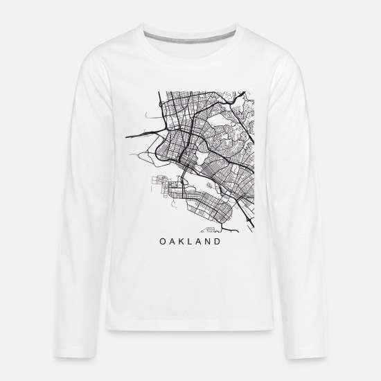 Minimalist Long-Sleeve Shirts - Oakland Minimalist City Street Map Dark Design - Kids' Premium Longsleeve Shirt white