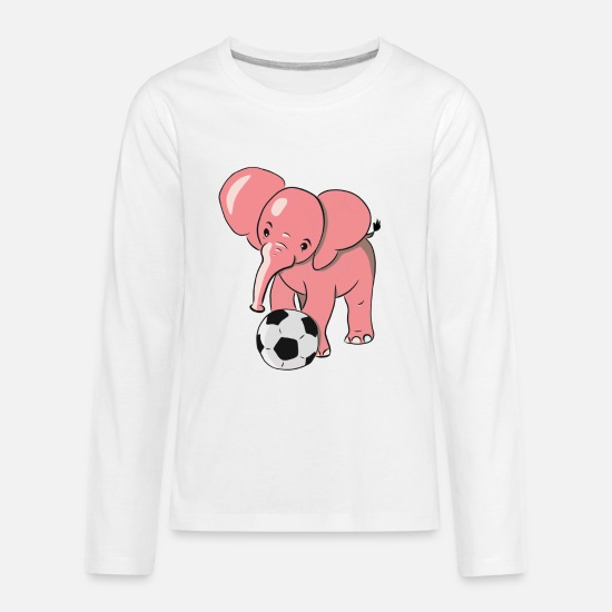 Soccer T-Shirts - Pink Elephant playing soccer - Kids' Premium Longsleeve Shirt white