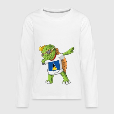 Saint Lucia Dabbing Turtle - Kids' Premium Long Sleeve T-Shirt