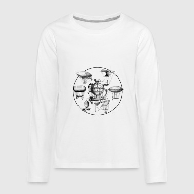 Industrial Futuristic Ships in the sky - Kids' Premium Long Sleeve T-Shirt