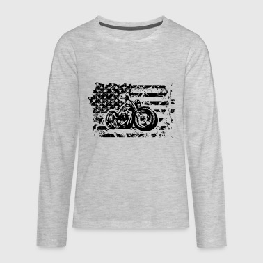 Motorcycle Flag Shirt - Kids' Premium Long Sleeve T-Shirt