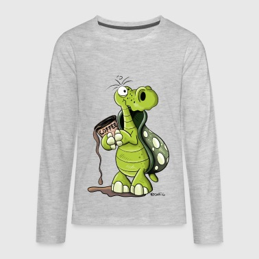 Turtle need coffee - Cartoon - Gift - Funny  - Kids' Premium Long Sleeve T-Shirt