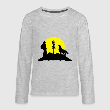 Hiking woman, wolf and mountains - Kids' Premium Long Sleeve T-Shirt