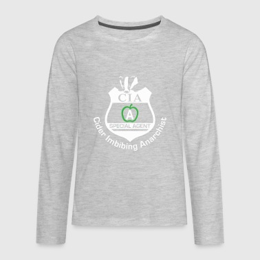 CIA Badge Cider Imbibing Anarchist With Badge - Kids' Premium Long Sleeve T-Shirt