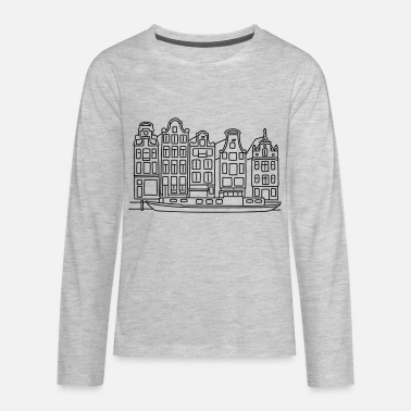 Canal Amsterdam Canal houses - Kids' Premium Long Sleeve T-Shirt