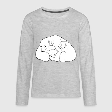 Polar Bear w. Cubs Twins - Kids' Premium Long Sleeve T-Shirt