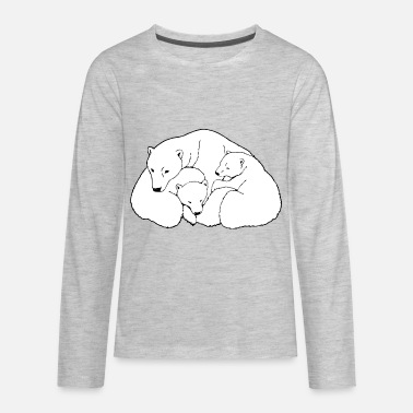 Save The Polar Bears Polar Bear w. Cubs Twins - Kids' Premium Longsleeve Shirt