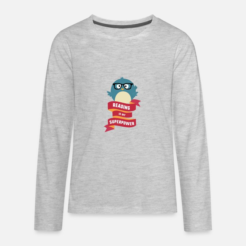 Beautiful T-Shirts - Reading is my Superpower S2g6d - Kids' Premium Longsleeve Shirt heather gray