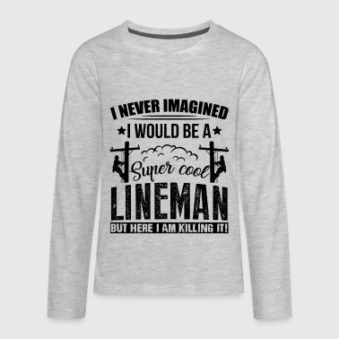 Cool Lineman Shirt - Kids' Premium Long Sleeve T-Shirt