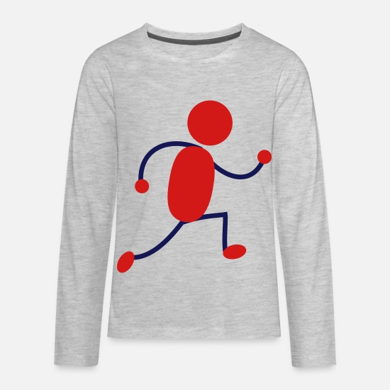 Running T-Shirts - Red Running Man - Kids' Premium Longsleeve Shirt heather gray