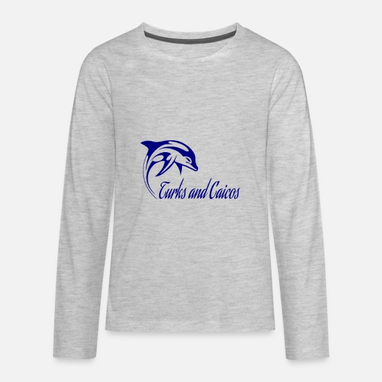 Tropical Long-Sleeve Shirts - Dolphin turks and caicos - Kids' Premium Longsleeve Shirt heather gray
