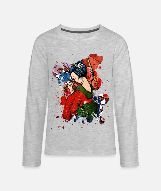 Artistic Long-Sleeved Shirts - Geisha - Kids' Premium Longsleeve Shirt heather gray