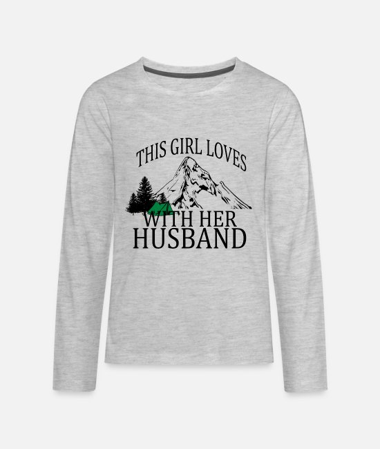 Husband Long-Sleeved Shirts - this_girl_loves_camping_with_her_husband - Kids' Premium Longsleeve Shirt heather gray