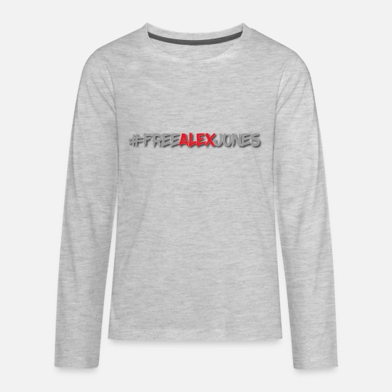 Jones Long-Sleeve Shirts - #FREEALEXJONES anti-censorship resistance design - Kids' Premium Longsleeve Shirt heather gray