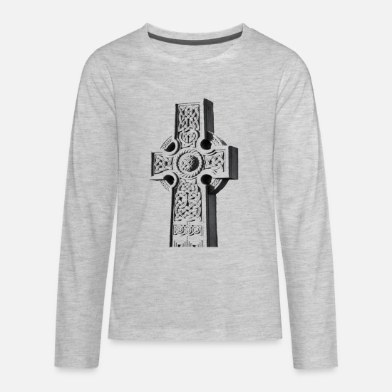 Celtic T-Shirts - Celtic Cross / Celtic Mythology Style Shirt - Kids' Premium Longsleeve Shirt heather gray