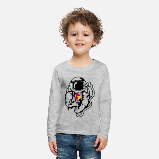 Miscellaneous Long-Sleeve Shirts - An astronaut with an ice cream cone - Kids' Premium Longsleeve Shirt heather gray