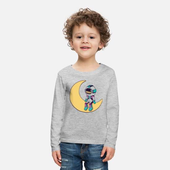 Young Long-Sleeve Shirts - Cool funny Cute space astronaut - Kids' Premium Longsleeve Shirt heather gray