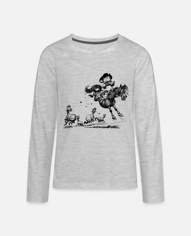 Mustang Long-Sleeved Shirts - Thelwell Horseman Taming Wild Horse - Kids' Premium Longsleeve Shirt heather gray