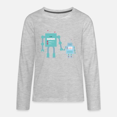 Pregnancy Announcement cute robot siblings, big & lil brothers / sisters - Kids' Premium Longsleeve Shirt