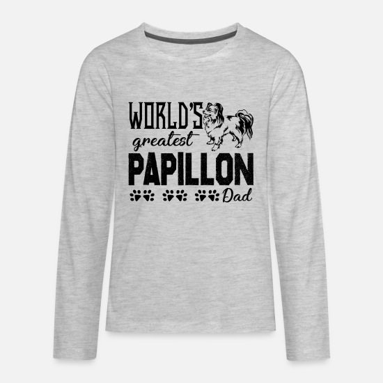 Papillon T-Shirts - Papillon Dad Shirt - Kids' Premium Longsleeve Shirt heather gray