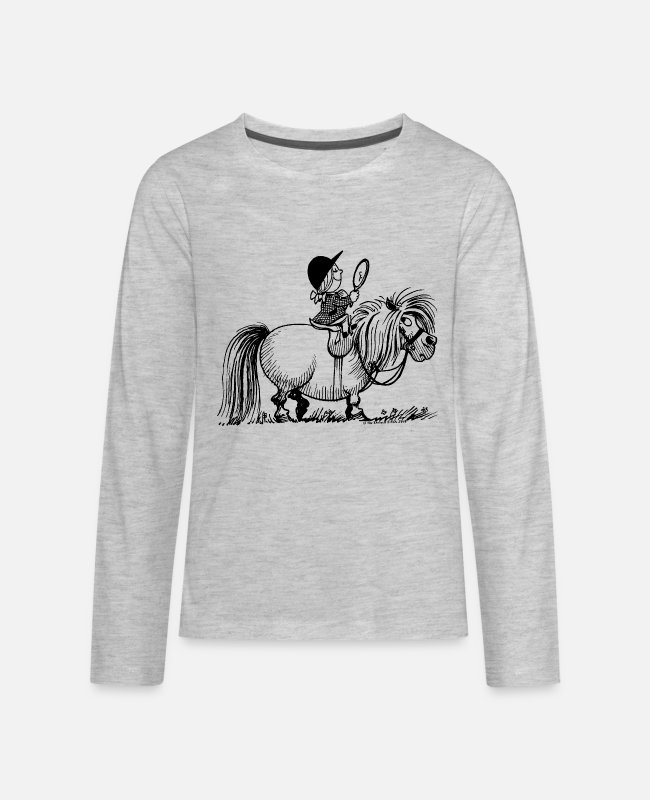 Riding Academy Long-Sleeved Shirts - Thelwell Penelope Riding A Pony - Kids' Premium Longsleeve Shirt heather gray