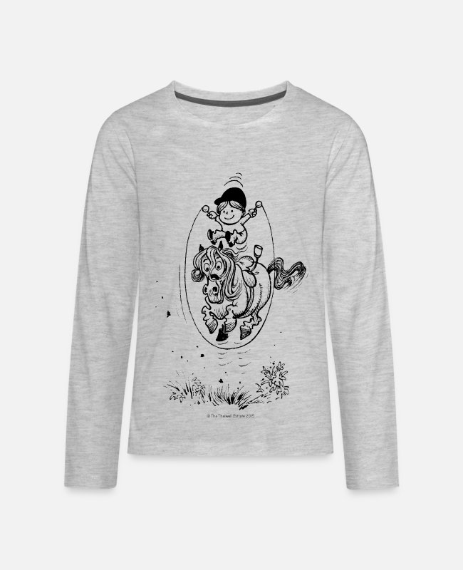 Riding Academy Long-Sleeved Shirts - Thelwell Skipping Rope - Kids' Premium Longsleeve Shirt heather gray