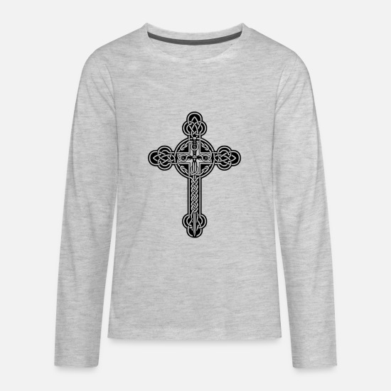 Christian T-Shirts - Celtic cross - Kids' Premium Longsleeve Shirt heather gray