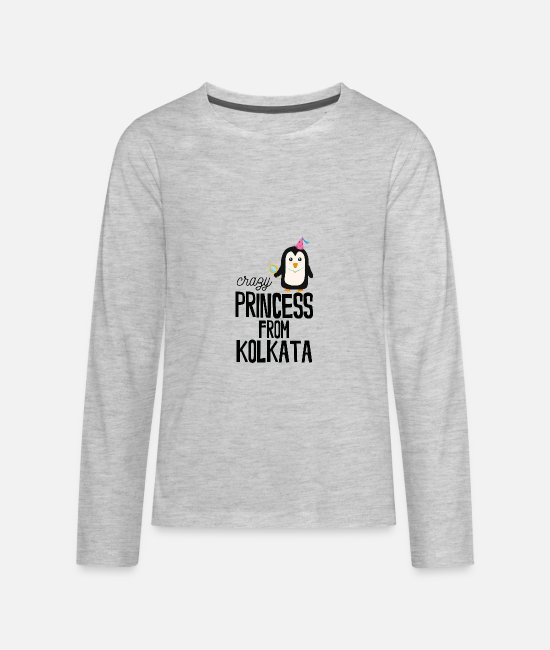 Young Long-Sleeved Shirts - crazy Princess from Kolkata - Kids' Premium Longsleeve Shirt heather gray