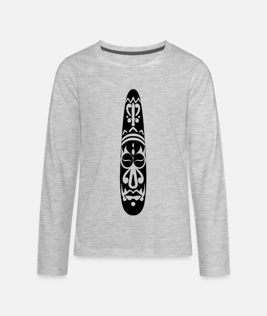 Art Long-Sleeved Shirts - African Art - Decorative Mask - Kids' Premium Longsleeve Shirt heather gray