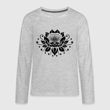 Large lotus flower in tattoo style. - Kids' Premium Long Sleeve T-Shirt