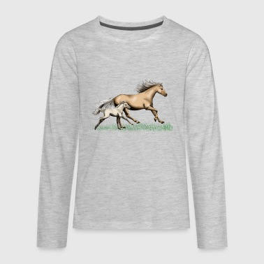 Mare with foal - Kids' Premium Long Sleeve T-Shirt